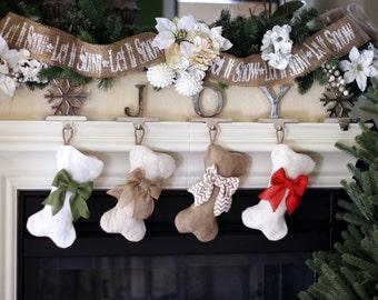Mini-Dog Bone Stockings - Burlap Pet Stocking