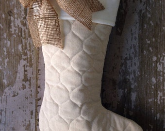 Single Quilted Stockings with Burlap Bow