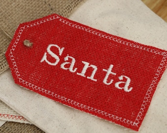 Personalized Embroidered Red Burlap Stocking Tag, Reusable Gift Tag
