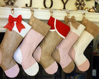 Christmas Stockings with Burlap and Red Ticking Accents / Set of Five (5) / Personalized Custom Stockings