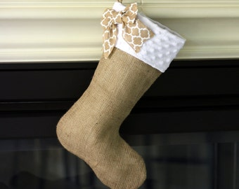 Burlap Stocking with White Minky Cuff and Patterned Burlap Bow Accent