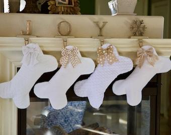 White Christmas Stocking for Dogs - Bone Shaped Dog Stocking / Christmas Dog Stockin