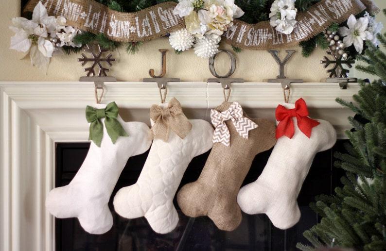Christmas Stocking for Dogs  Bone Shaped Dog Stocking / image 1