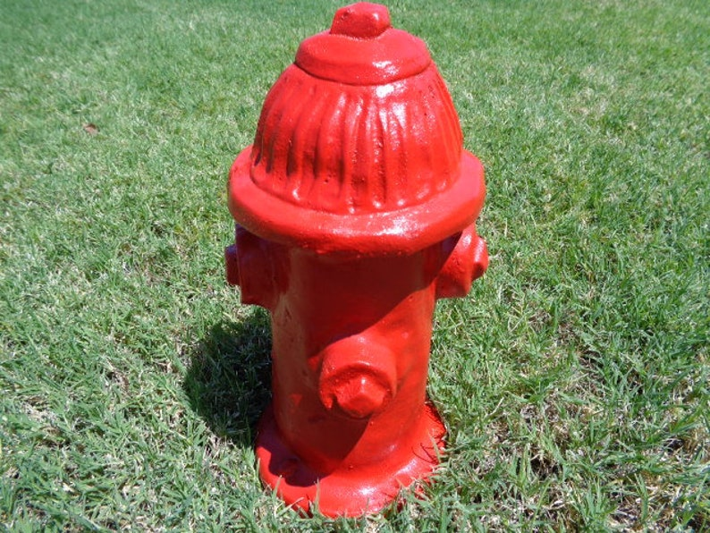 Fire Hydrant Stone Sculpture Yard Art Dog Toy Dog image 0
