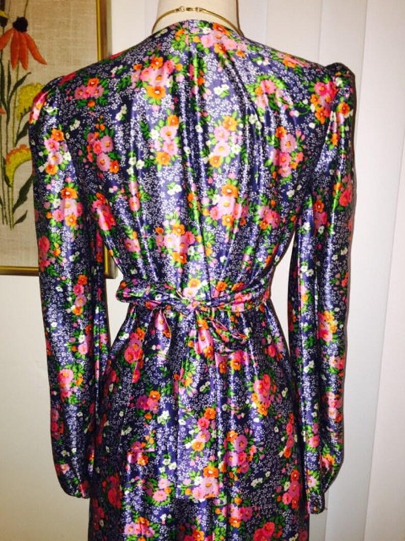 VINTAGE 1970/'s Long Sleeve Blue Floral Tie Back Maxi Dress Sz M