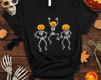 Halloween Party Dancing Skeleton Shirt, Skeletons Happy Halloween Tshirt, Halloween Shirt, Funny Skeletons Shirt, Skeletons Pumpkin Tshirt