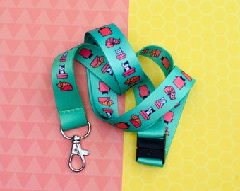 Cats in Boxes - Green Lanyard