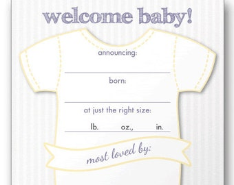 Fill in the Blank Baby Announcement Sticky Sheets make your cards RE-USABLE!