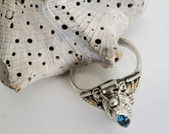 Blue Topaz Poison, Container, Pill Box Ring  #992