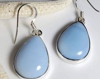Rich, Soft, Elegant Light Blue Opal Dangle Drop Gemstones, October Birthstone #838
