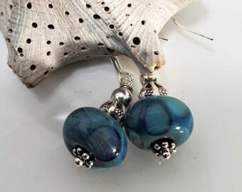 Rich Bluish Green Hand Blown Glass/Lampwork Beaded Earrings #997