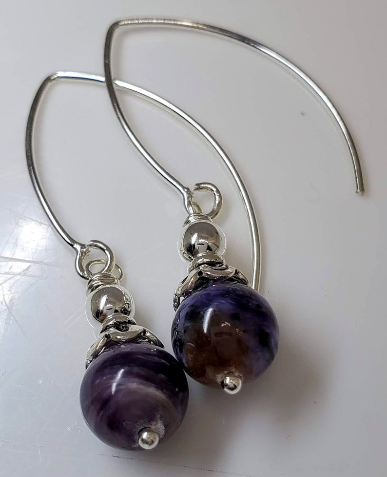 adorned with .925 Sterling Silver Findings #872 Charoite Gemstones