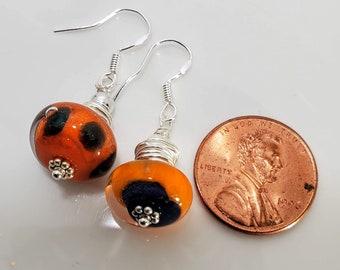 Orange Lampwork Dangle Drop Earrings adorned w/.925 Sterling Silver Findings #995