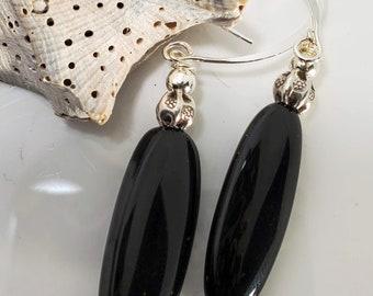 Rich Dark Black Oblong Onyx Dangle Drop Earrings, adorned in.925 Sterling Silver #998