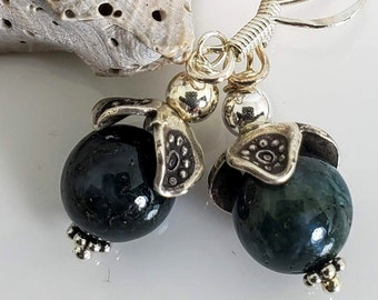 Rich Moss Agate Semi-Precious Gemstones, adorned with .925 Sterling Silver #990