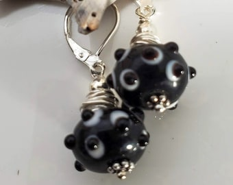 Black and White Handblown Glass/Lampwork Dangle Drop Lever Back Earrings adorned with .925 Sterling Silver #996