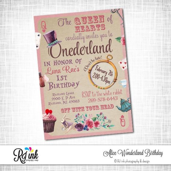 Alice In Wonderland Birthday Invitation Printable Alice In Etsy
