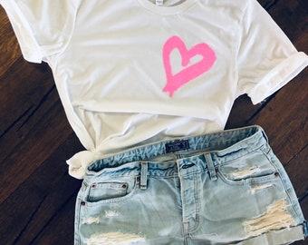 Glitter heart tee - painted heart