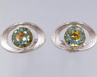 Vintage Cufflinks, Green Blue Color Change Cufflinks, Heliotrope Rhinestones, Signed Swank Cufflinks, Men's Jewelry Gifts AccessY