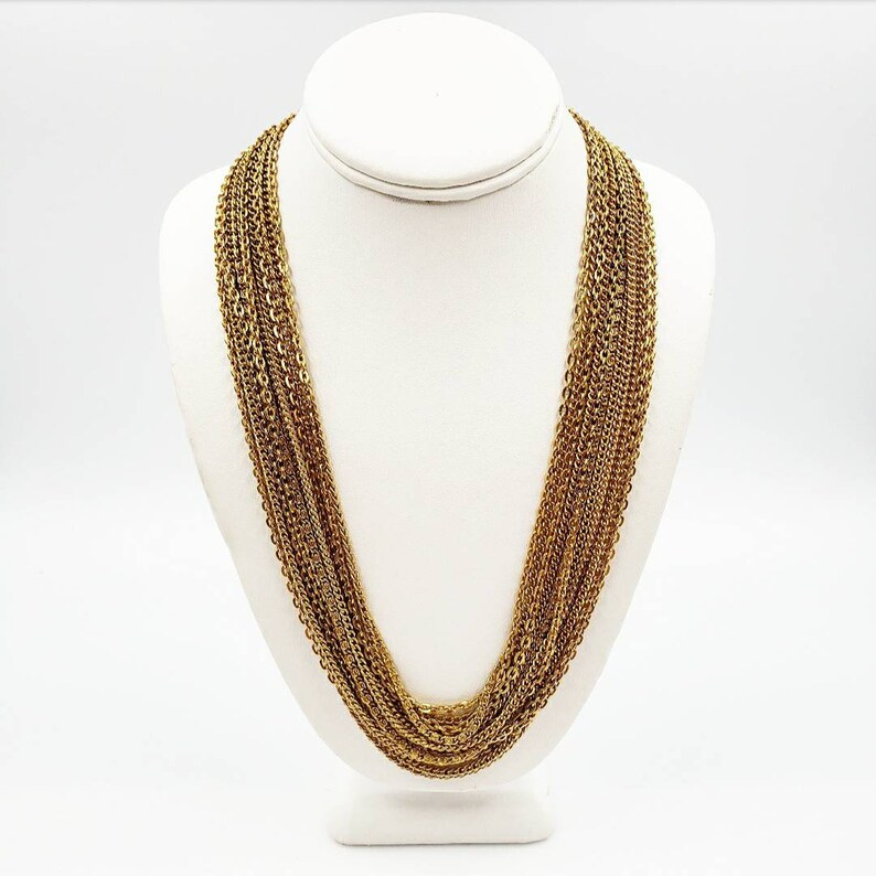 320e65ff908 Vintage Multi Strand Gold Chain Necklace, Multiple Chains Statement Necklace,  Long Draping Chains Torsade, Gift for Her, Anniversary Gift