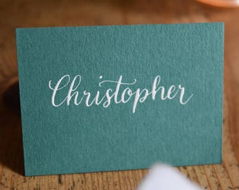 Emerald green and white place cards