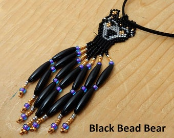 Black Bear Pendant. Black bear seed bead weaving on black leather. Gift for him or her. Birthday or friendship gift. Hand woven jewelry.