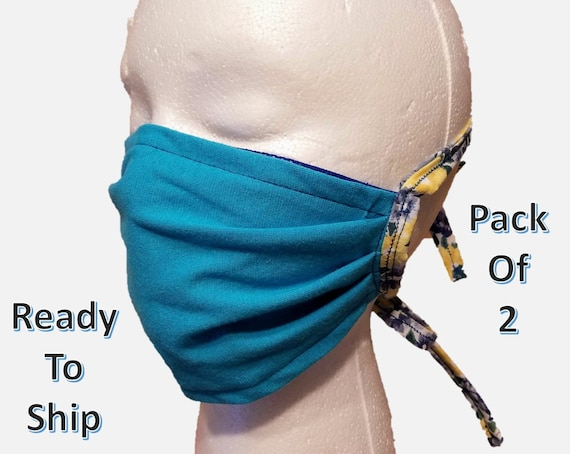 2 Face mask with fabric ties, non elastic face mask, face mask made in USA, reusable, machine washable face mask