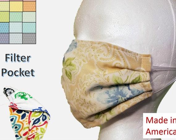 Set of 2 Reusable Floral Pattern Face Masks with filter pocket