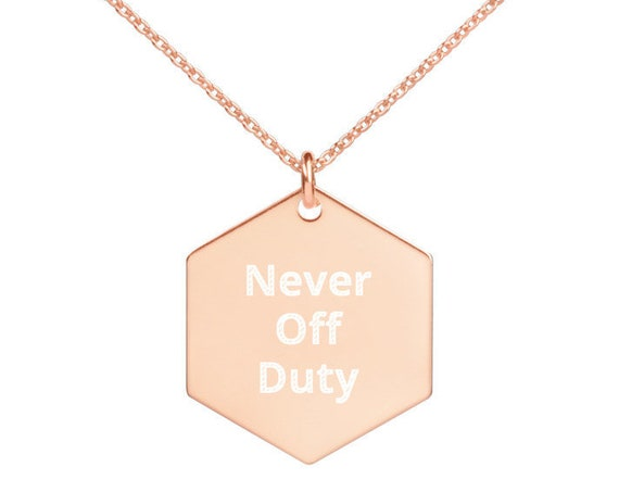Engraved Hexagon Necklace for Female First Responders
