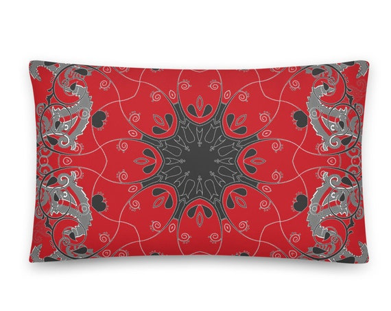 Scarlet Red Paisley Damask Pillow and Cover