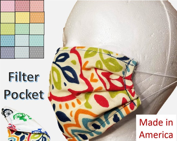 Double Layer Set of 2 Floral Pattern Washable Face Masks