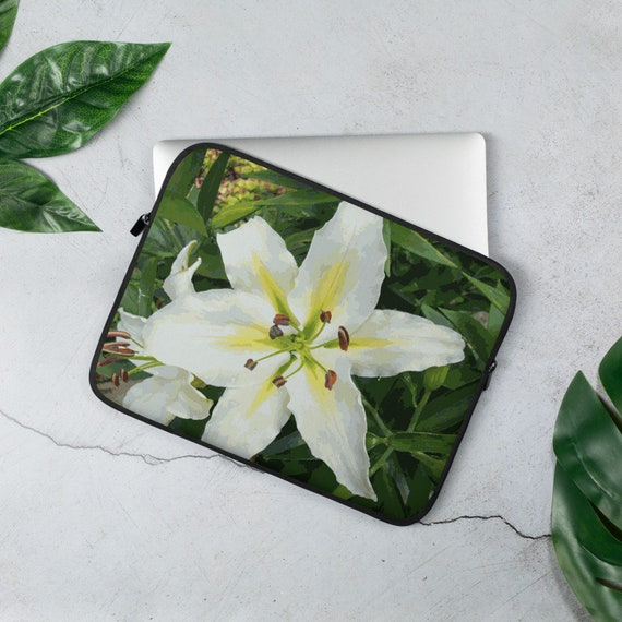 Laptop Sleeve with White Lilly Floral Design