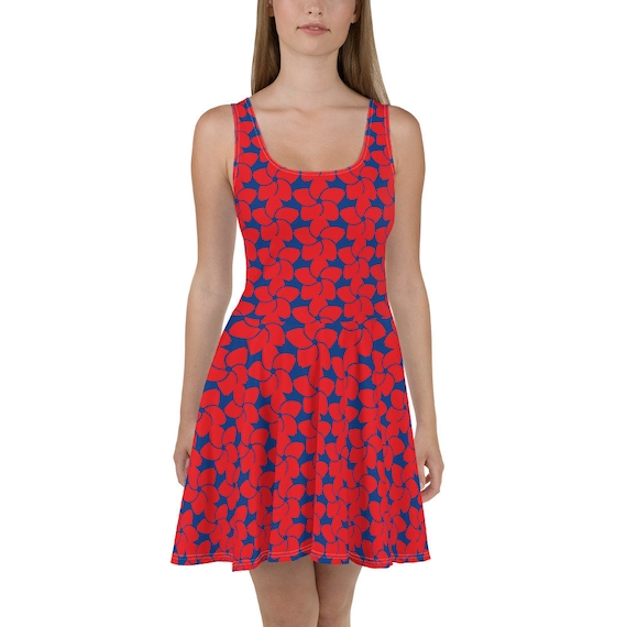4th of July Running Dress - Womens Skater Dress with A-line skirt