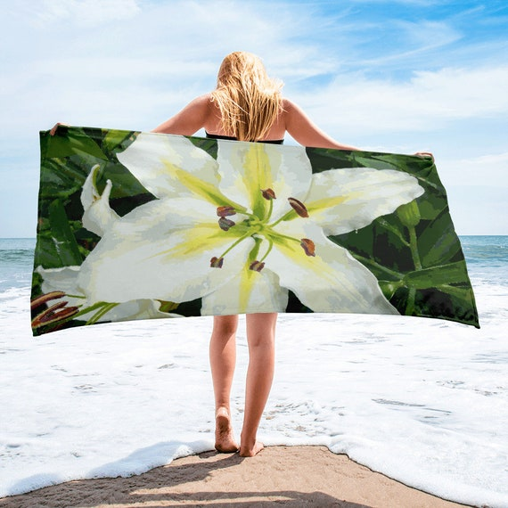 White Lily Oversize Beach Towel