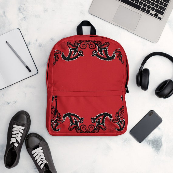 Red and Black Damask Print Backpack