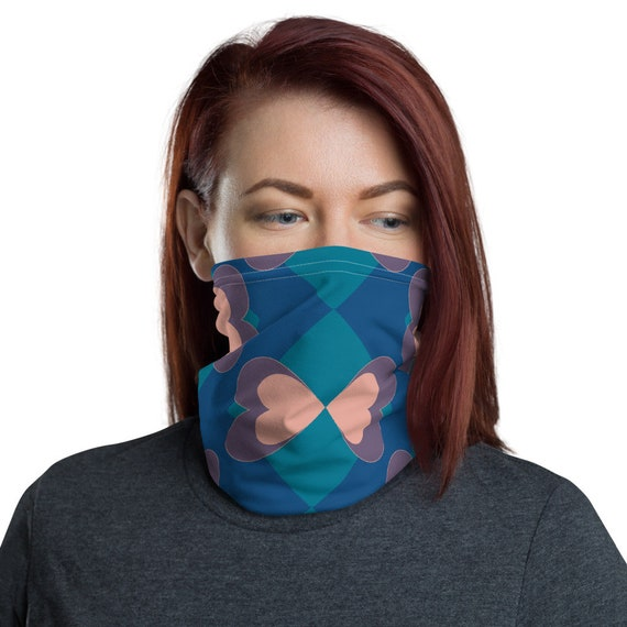 Neck Gaiter Face Covering with Heart Butterfly Pattern