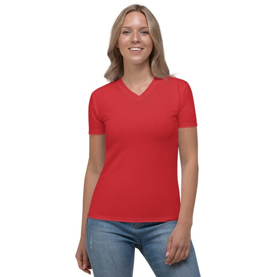 Scarlet Red Solid Colored Women's V-neck Shirt