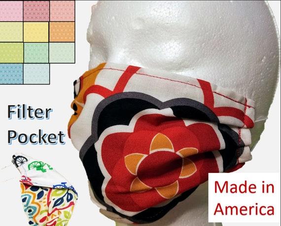 2 Pack Red/Black Floral Washable Face Masks
