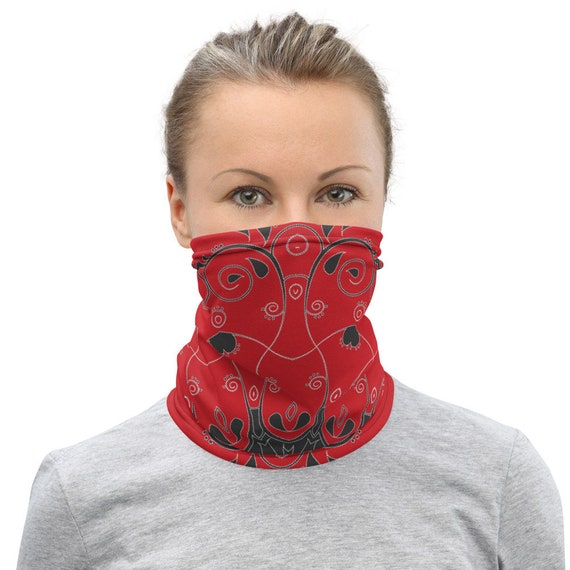 Scarlet Red Queen of Hearts Paisley Neck Gaiter for Women