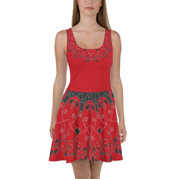 Scarlet Queen of Hearts Paisley Skater Dress