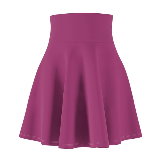 Women's High Waisted Skater Skirt in Magenta