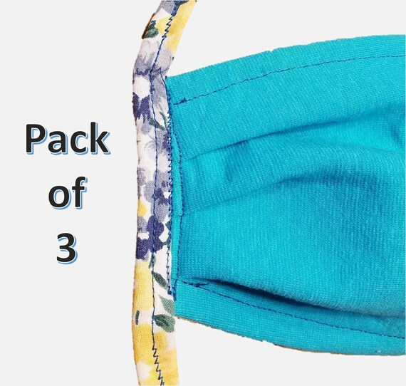 Double Layer Set of 3 Washable Face Masks with ties - Pack of 3 Machine Washable Face Mask - Adjustable and Durable