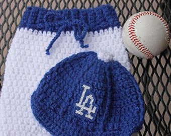 7a4ad692d10 CUSTOM LA Dodgers inspired baseball Cap   Pants SET Newborn Crochet
