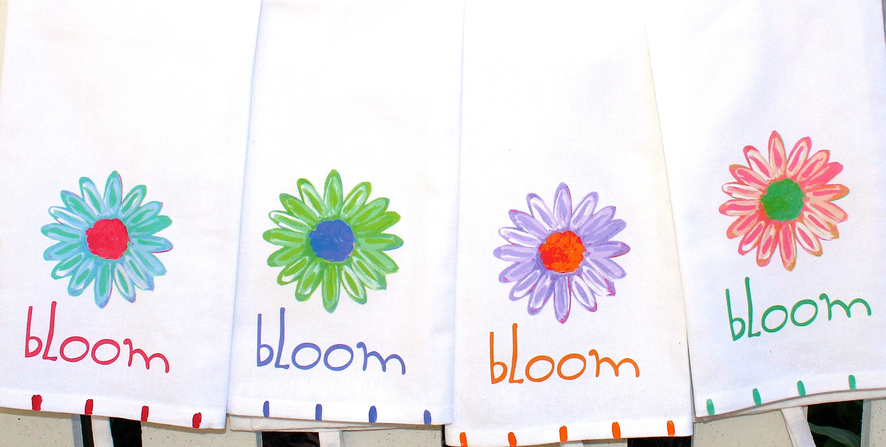Daisy Floral Bloom Kitchen Tea Towel Housewarming Hostess Gift Etsy