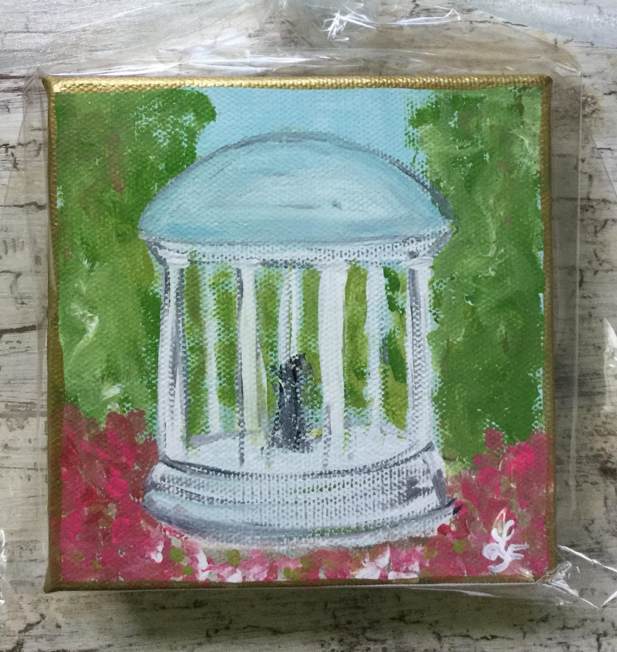 UNC Chapel Hill Old Well Mini Canvas Art Painting