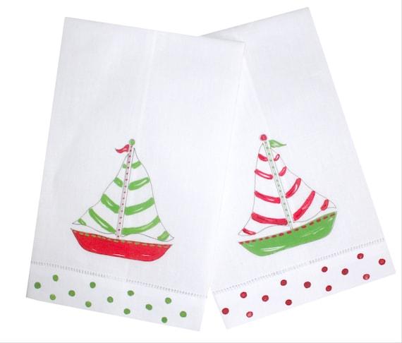Nautical Guest Towels: Nautical Christmas Sailboat Linen Guest Towels Christmas