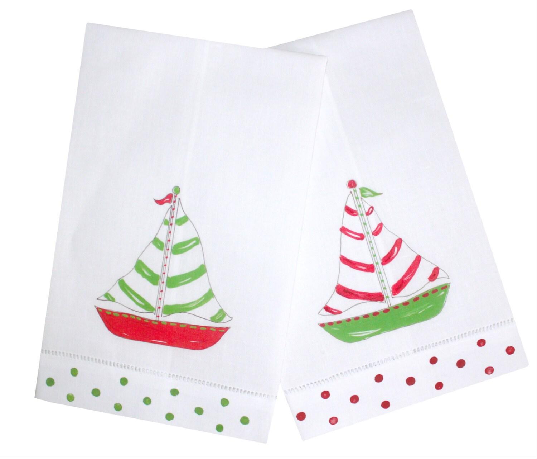 Nautische Weihnachten Segelboot Leinen Gast Handtücher | Etsy