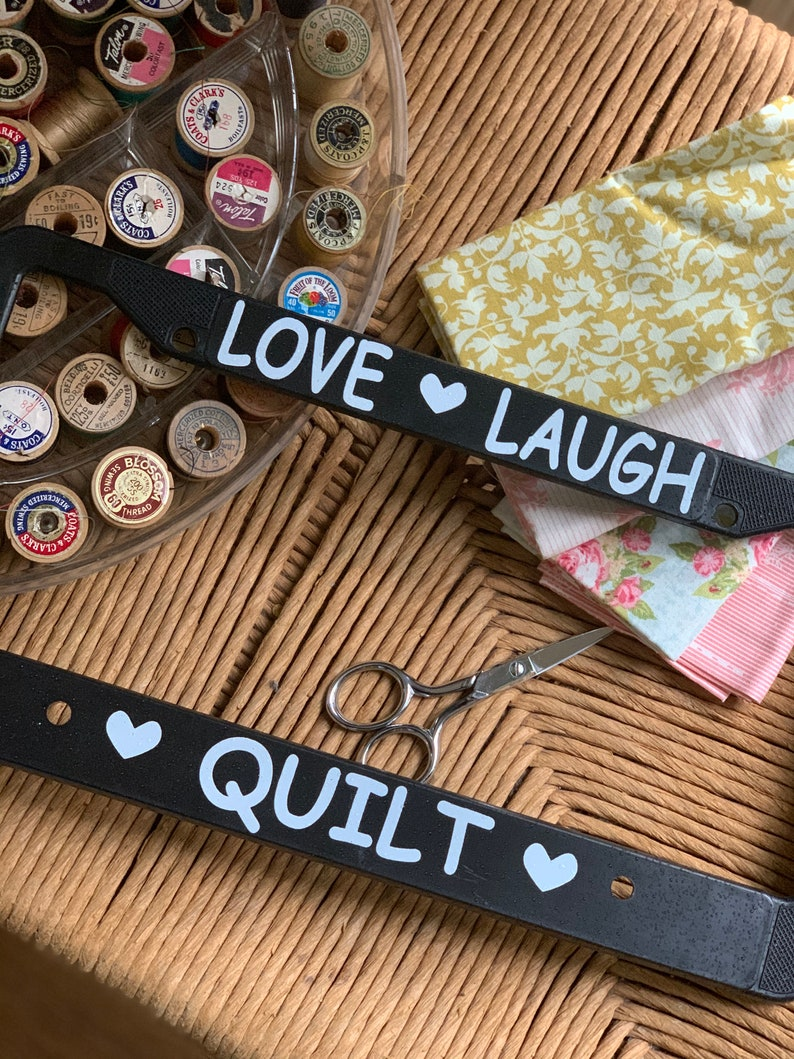 license plate frame for quilters-quilters gift-love laugh image 0
