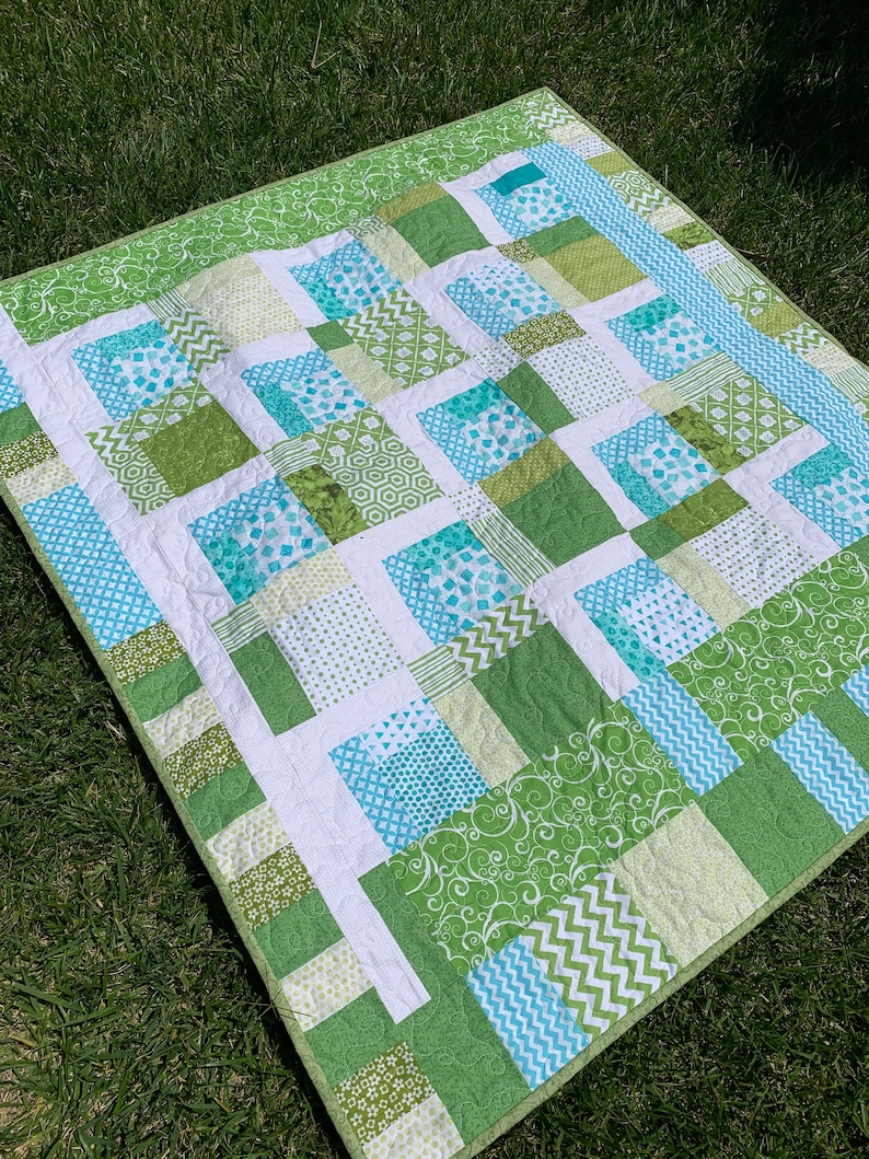 green and turquoise toddler quilt baby quilt patchwork image 0