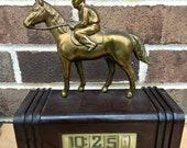 Rare Vintage Flip Clock Plaskon Spelter Figural Horse Art Deco Dated 1950 Equestrian Decor Antique Clock Bakelite